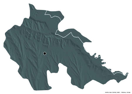 Shape of Åžtefan Voda, district of Moldova, with its capital isolated on white background. Colored elevation map. 3D rendering