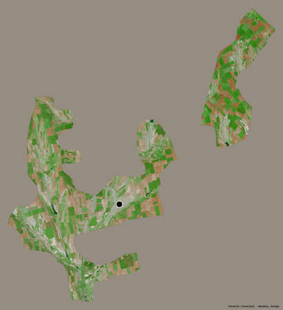 Shape of Taraclia, district of Moldova, with its capital isolated on a solid color background. Satellite imagery. 3D rendering