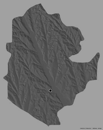 Shape of CimiÅŸlia, district of Moldova, with its capital isolated on a solid color background. Bilevel elevation map. 3D rendering