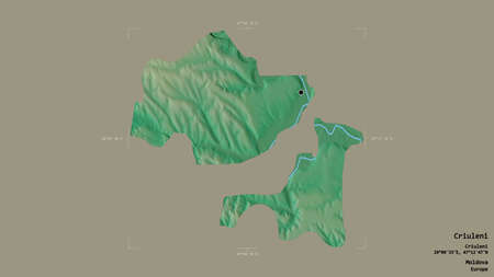 Area of Criuleni, district of Moldova, isolated on a solid background in a georeferenced bounding box. Labels. Topographic relief map. 3D rendering