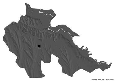 Shape of Åžtefan Voda, district of Moldova, with its capital isolated on white background. Bilevel elevation map. 3D rendering
