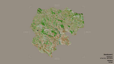 Area of Donduseni, district of Moldova, isolated on a solid background in a georeferenced bounding box. Labels. Satellite imagery. 3D rendering