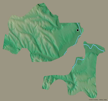 Shape of Criuleni, district of Moldova, with its capital isolated on a solid color background. Topographic relief map. 3D rendering