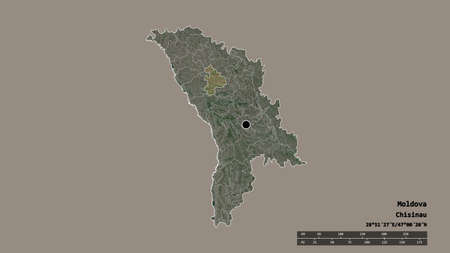 Desaturated shape of Moldova with its capital, main regional division and the separated Sîngerei area. Labels. Satellite imagery. 3D rendering
