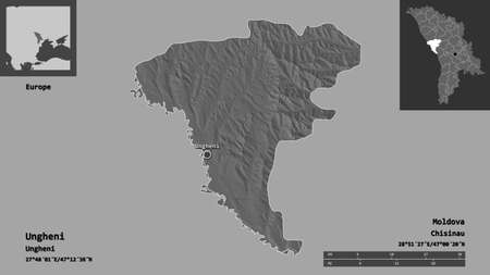 Shape of Ungheni, district of Moldova, and its capital. Distance scale, previews and labels. Bilevel elevation map. 3D rendering