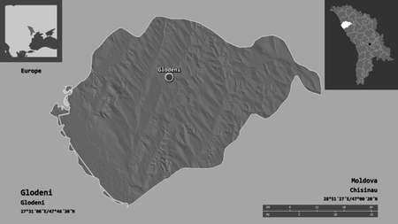 Shape of Glodeni, district of Moldova, and its capital. Distance scale, previews and labels. Bilevel elevation map. 3D rendering