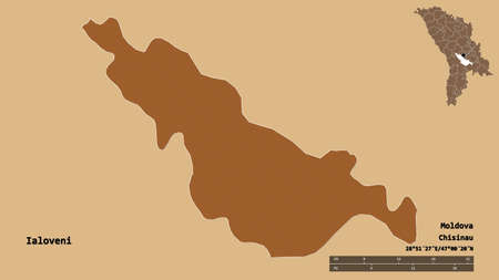 Shape of Ialoveni, district of Moldova, with its capital isolated on solid background. Distance scale, region preview and labels. Composition of regularly patterned textures. 3D rendering