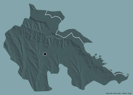 Shape of Åžtefan Voda, district of Moldova, with its capital isolated on a solid color background. Colored elevation map. 3D rendering Stock fotó