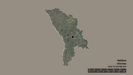 Desaturated shape of Moldova with its capital, main regional division and the separated Şoldăneşti area. Labels. Satellite imagery. 3D rendering