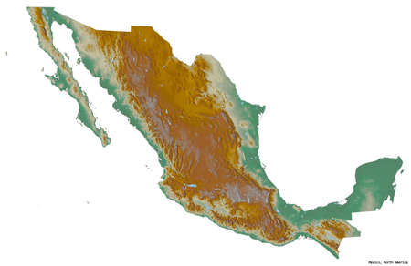 Shape of Mexico with its capital isolated on white background. Topographic relief map. 3D rendering