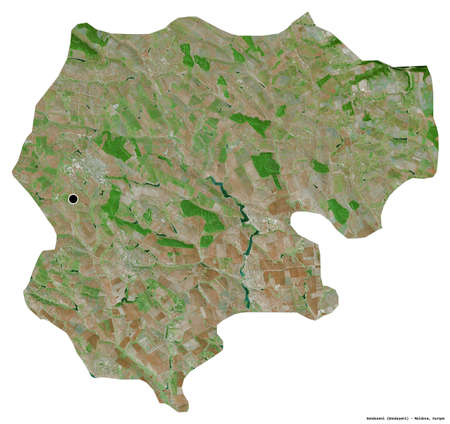 Shape of Donduseni, district of Moldova, with its capital isolated on white background. Satellite imagery. 3D rendering Reklamní fotografie