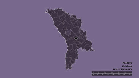 Desaturated shape of Moldova with its capital, main regional division and the separated Calarasi area. Labels. Colored elevation map. 3D rendering