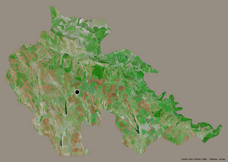 Shape of Åžtefan Voda, district of Moldova, with its capital isolated on a solid color background. Satellite imagery. 3D rendering Stock fotó