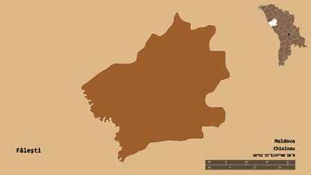 Shape of FăleÅŸti, district of Moldova, with its capital isolated on solid background. Distance scale, region preview and labels. Composition of regularly patterned textures. 3D rendering Reklamní fotografie