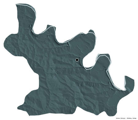 Shape of Soroca, district of Moldova, with its capital isolated on white background. Colored elevation map. 3D rendering