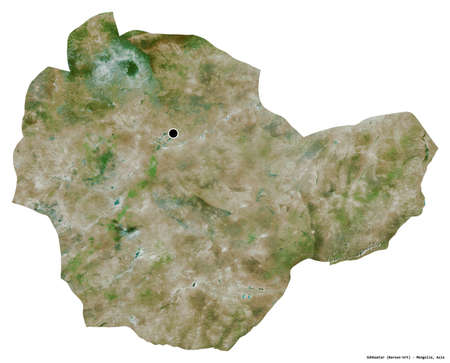 Shape of Sühbaatar, province of Mongolia, with its capital isolated on white background. Satellite imagery. 3D rendering
