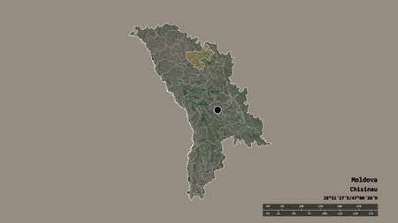 Desaturated shape of Moldova with its capital, main regional division and the separated FloreÅŸti area. Labels. Satellite imagery. 3D rendering Reklamní fotografie