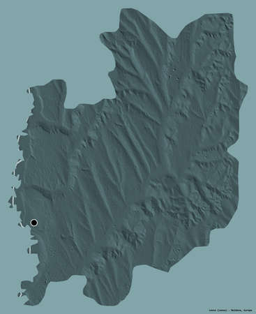 Shape of Leova, district of Moldova, with its capital isolated on a solid color background. Colored elevation map. 3D rendering Reklamní fotografie
