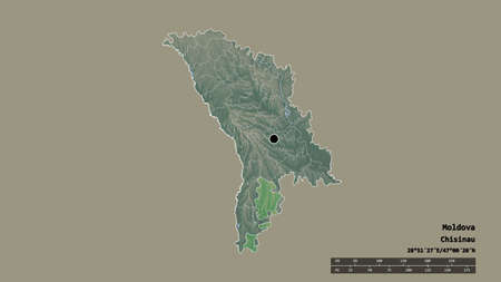 Desaturated shape of Moldova with its capital, main regional division and the separated Găgăuzia area. Labels. Topographic relief map. 3D rendering