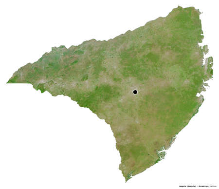 Shape of Nampula, province of Mozambique, with its capital isolated on white background. Satellite imagery. 3D rendering