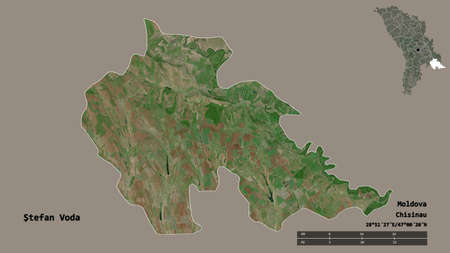 Shape of Åžtefan Voda, district of Moldova, with its capital isolated on solid background. Distance scale, region preview and labels. Satellite imagery. 3D rendering