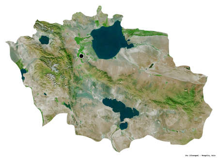 Shape of Uvs, province of Mongolia, with its capital isolated on white background. Satellite imagery. 3D rendering