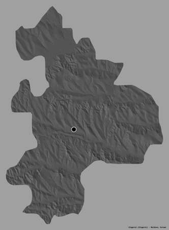 Shape of Sîngerei, district of Moldova, with its capital isolated on a solid color background. Bilevel elevation map. 3D rendering Reklamní fotografie