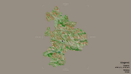 Area of Sîngerei, district of Moldova, isolated on a solid background in a georeferenced bounding box. Labels. Satellite imagery. 3D rendering Reklamní fotografie