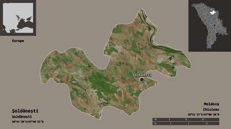 Shape of Şoldăneşti, district of Moldova, and its capital. Distance scale, previews and labels. Satellite imagery. 3D rendering