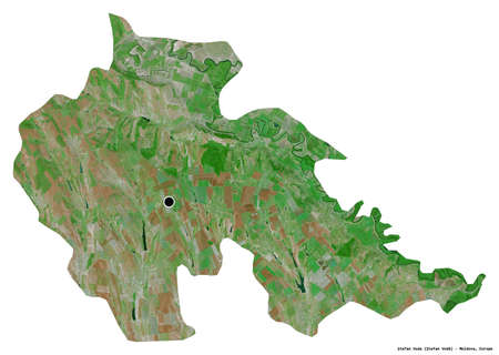 Shape of Åžtefan Voda, district of Moldova, with its capital isolated on white background. Satellite imagery. 3D rendering