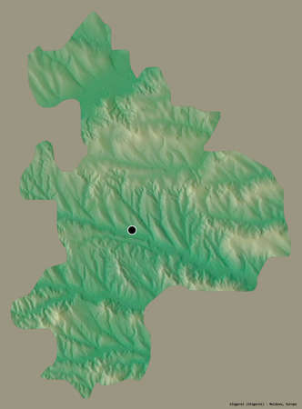 Shape of Sîngerei, district of Moldova, with its capital isolated on a solid color background. Topographic relief map. 3D rendering