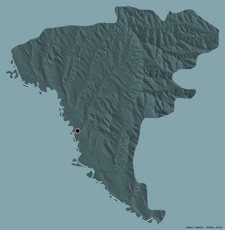 Shape of Ungheni, district of Moldova, with its capital isolated on a solid color background. Colored elevation map. 3D rendering Reklamní fotografie