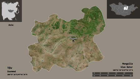 Shape of Töv, province of Mongolia, and its capital. Distance scale, previews and labels. Satellite imagery. 3D rendering