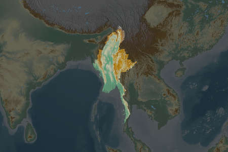 Shape of Myanmar separated by the desaturation of neighboring areas. Topographic relief map. 3D rendering