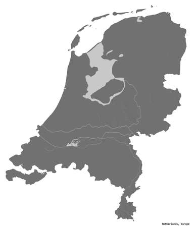 Shape of Netherlands with its capital isolated on white background. Bilevel elevation map. 3D rendering Stockfoto