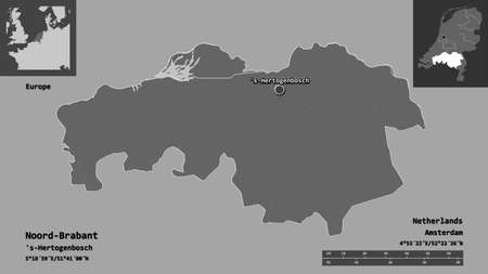 Shape of Noord-Brabant, province of Netherlands, and its capital. Distance scale, previews and labels. Bilevel elevation map. 3D rendering