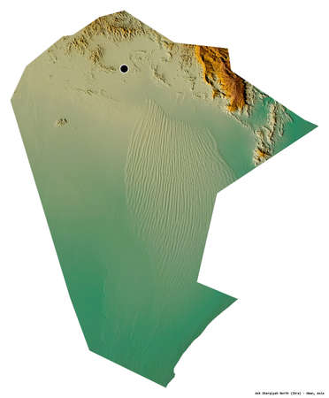 Shape of Ash Sharqiyah North, region of Oman, with its capital isolated on white background. Topographic relief map. 3D rendering