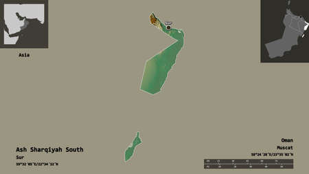 Shape of Ash Sharqiyah South, region of Oman, and its capital. Distance scale, previews and labels. Topographic relief map. 3D rendering