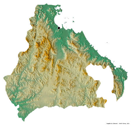 Shape of Kangwŏn-do, province of North Korea, with its capital isolated on white background. Topographic relief map. 3D rendering Stockfoto