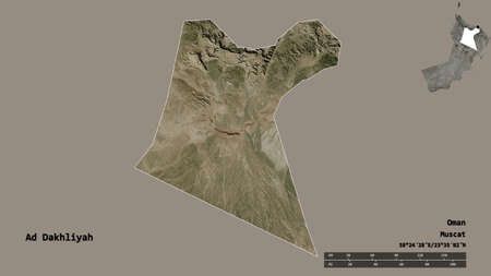 Shape of Ad Dakhliyah, region of Oman, with its capital isolated on solid background. Distance scale, region preview and labels. Satellite imagery. 3D rendering