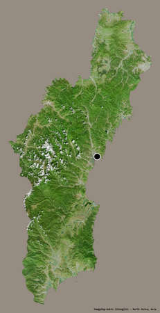 Shape of Hamgyŏng-bukto, province of North Korea, with its capital isolated on a solid color background. Satellite imagery. 3D rendering