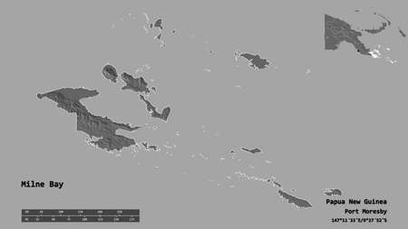 Shape of Milne Bay, province of Papua New Guinea, with its capital isolated on solid background. Distance scale, region preview and labels. Bilevel elevation map. 3D rendering