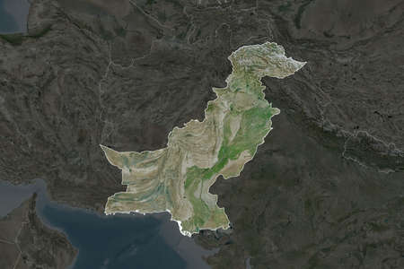 Shape of Pakistan separated by the desaturation of neighboring areas. Borders. Satellite imagery. 3D rendering