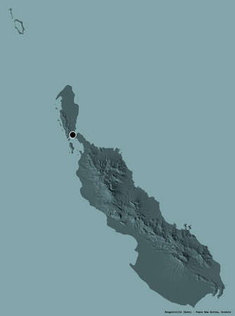 Shape of Bougainville, autonomous region of Papua New Guinea, with its capital isolated on a solid color background. Colored elevation map. 3D rendering Stock Photo