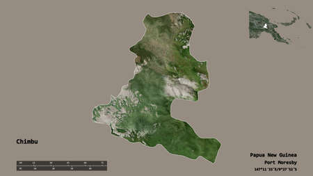 Shape of Chimbu, province of Papua New Guinea, with its capital isolated on solid background. Distance scale, region preview and labels. Satellite imagery. 3D rendering Foto de archivo