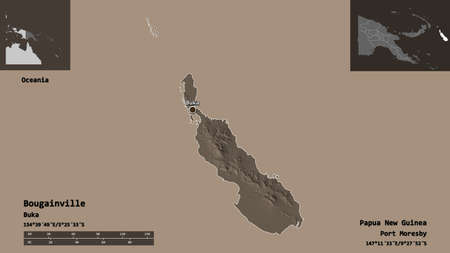 Shape of Bougainville, autonomous region of Papua New Guinea, and its capital. Distance scale, previews and labels. Colored elevation map. 3D rendering