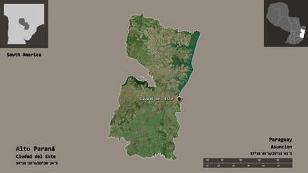 Shape of Alto Paraná, department of Paraguay, and its capital. Distance scale, previews and labels. Satellite imagery. 3D rendering
