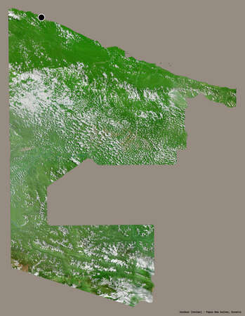 Shape of Sandaun, province of Papua New Guinea, with its capital isolated on a solid color background. Satellite imagery. 3D rendering Imagens