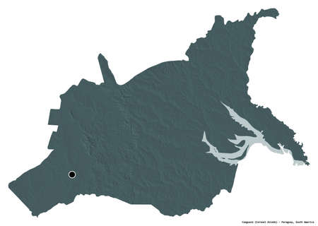 Shape of Caaguazú, department of Paraguay, with its capital isolated on white background. Colored elevation map. 3D rendering