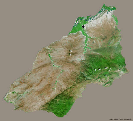 Shape of Tumbes, region of Peru, with its capital isolated on a solid color background. Satellite imagery. 3D rendering